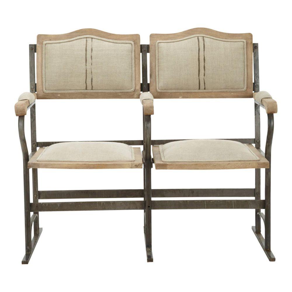 banquette 2 places strapontin en lin et m tal chaplin. Black Bedroom Furniture Sets. Home Design Ideas