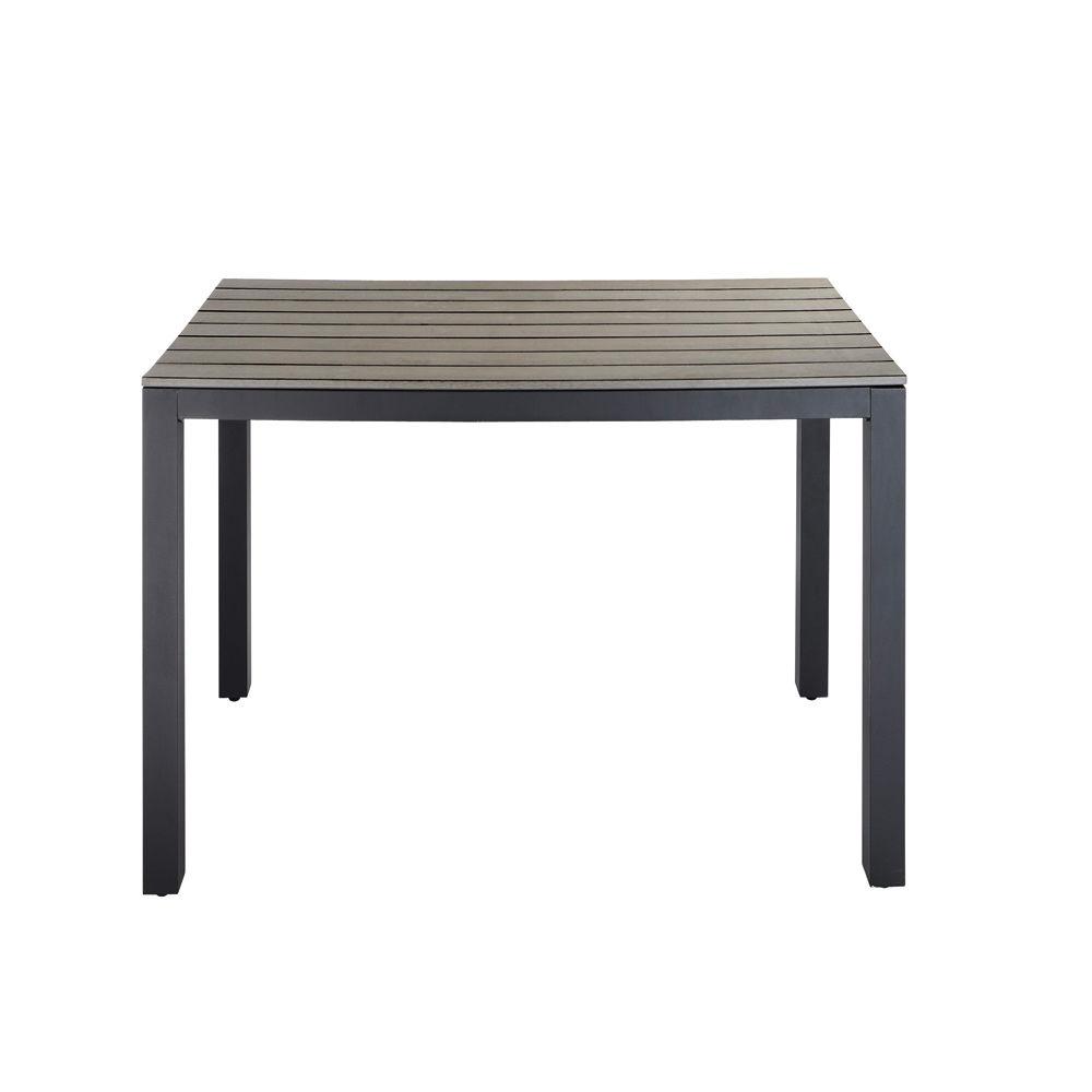 Table de jardin en composite imitation bois et aluminium grise l 104 cm escal - Table de jardin carree aluminium ...