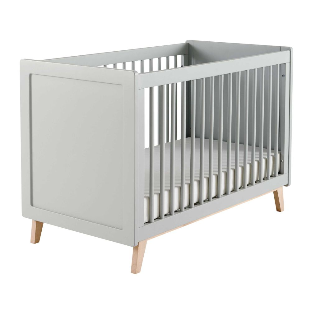 Lit bébé  barreaux gris L 126 cm Sweet