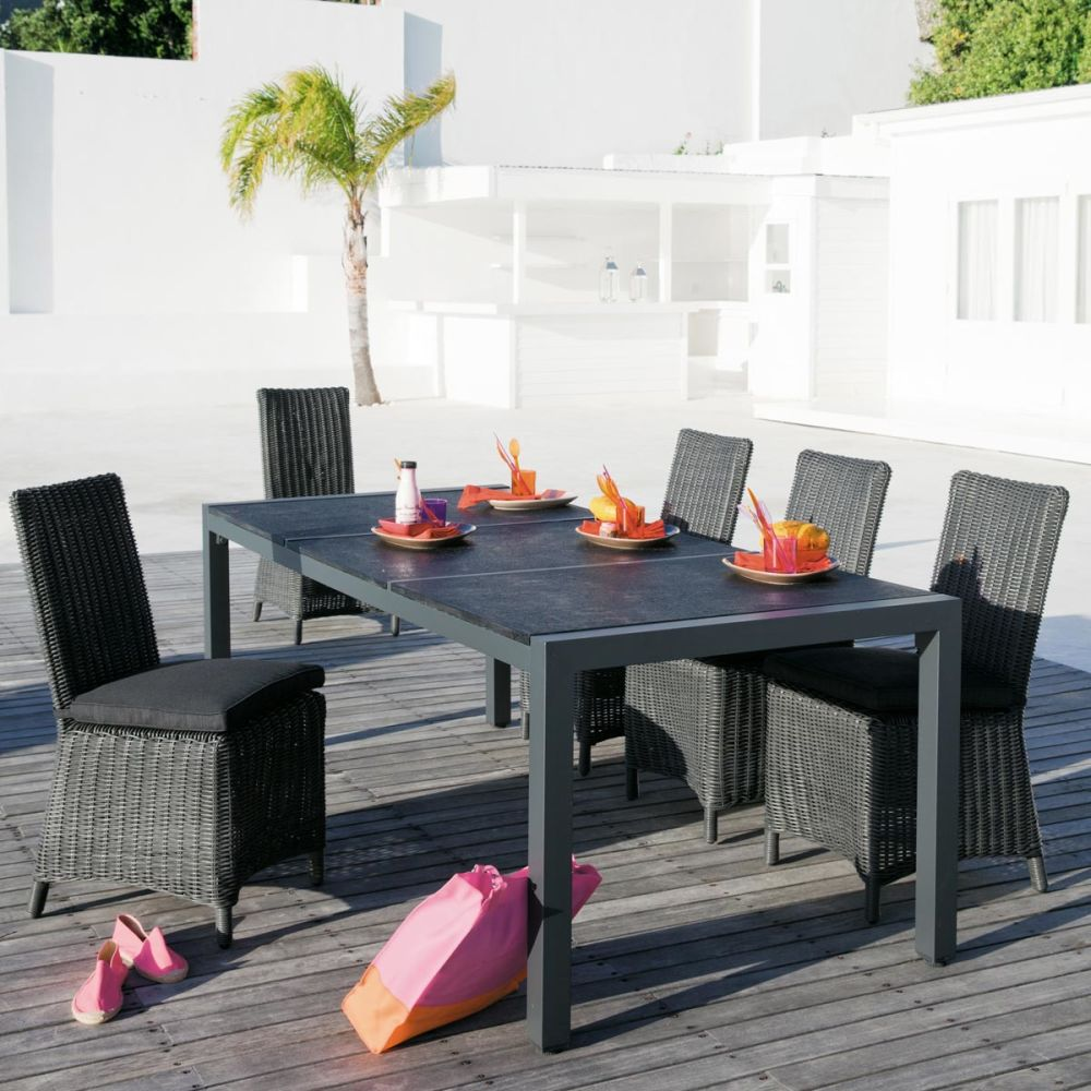 Table de jardin gris anthracite for Bordure de jardin gris anthracite