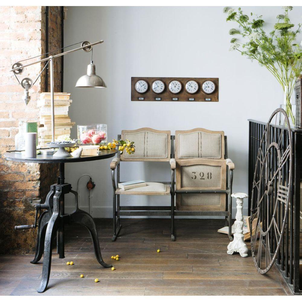 Table de salle manger indus en m tal noire l 75 cm - Fauteuil vintage maison du monde ...