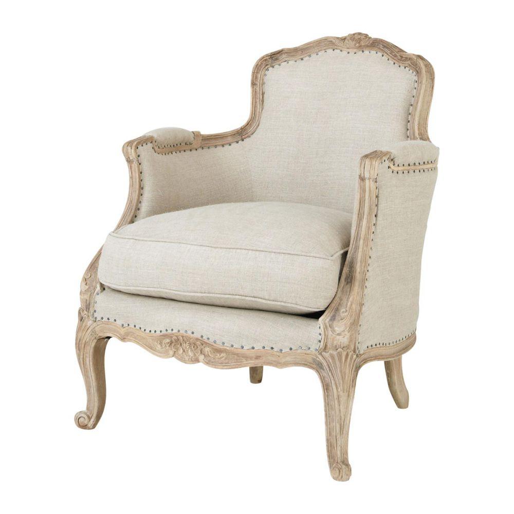 Poltrona da salotto in lino maupassant maupassant maisons du monde - Maison du monde fauteuil suspendu ...