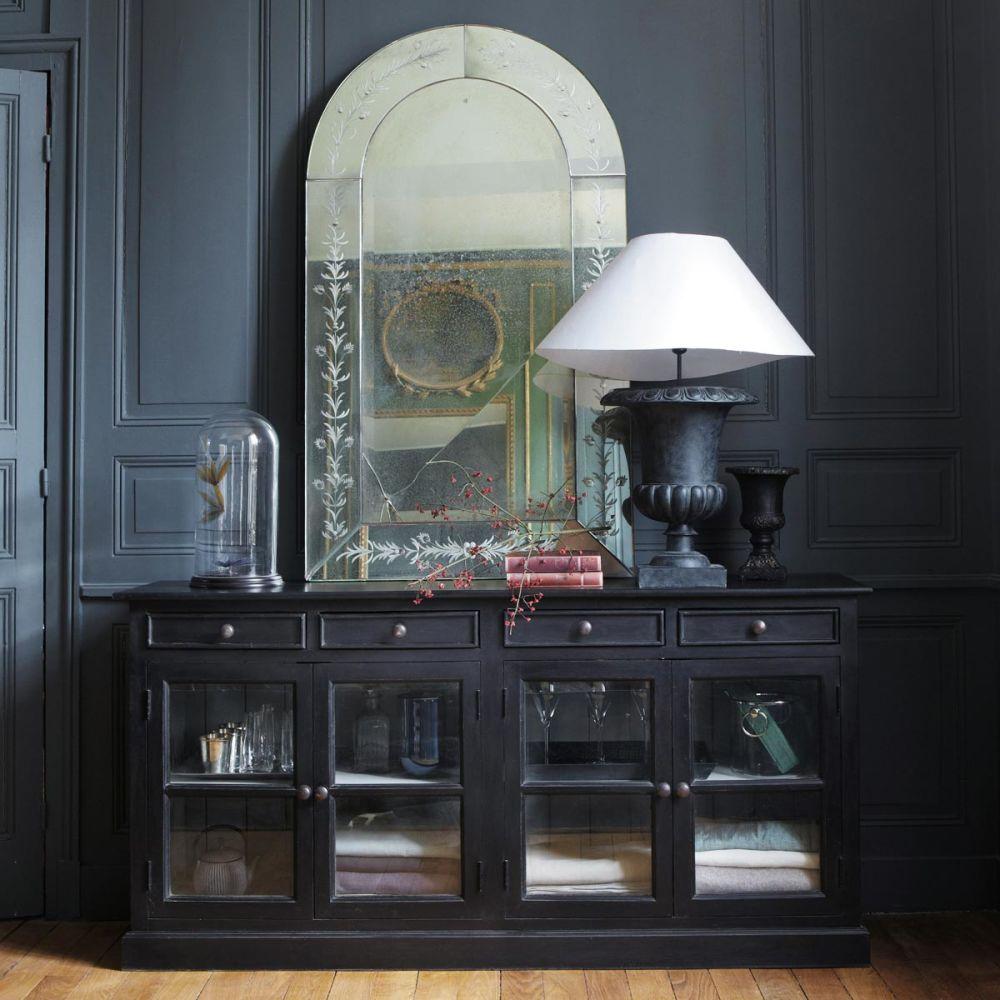 Buffet vitr en manguier noir l 170 cm clarence maisons du monde - Maison du monde buffet ...