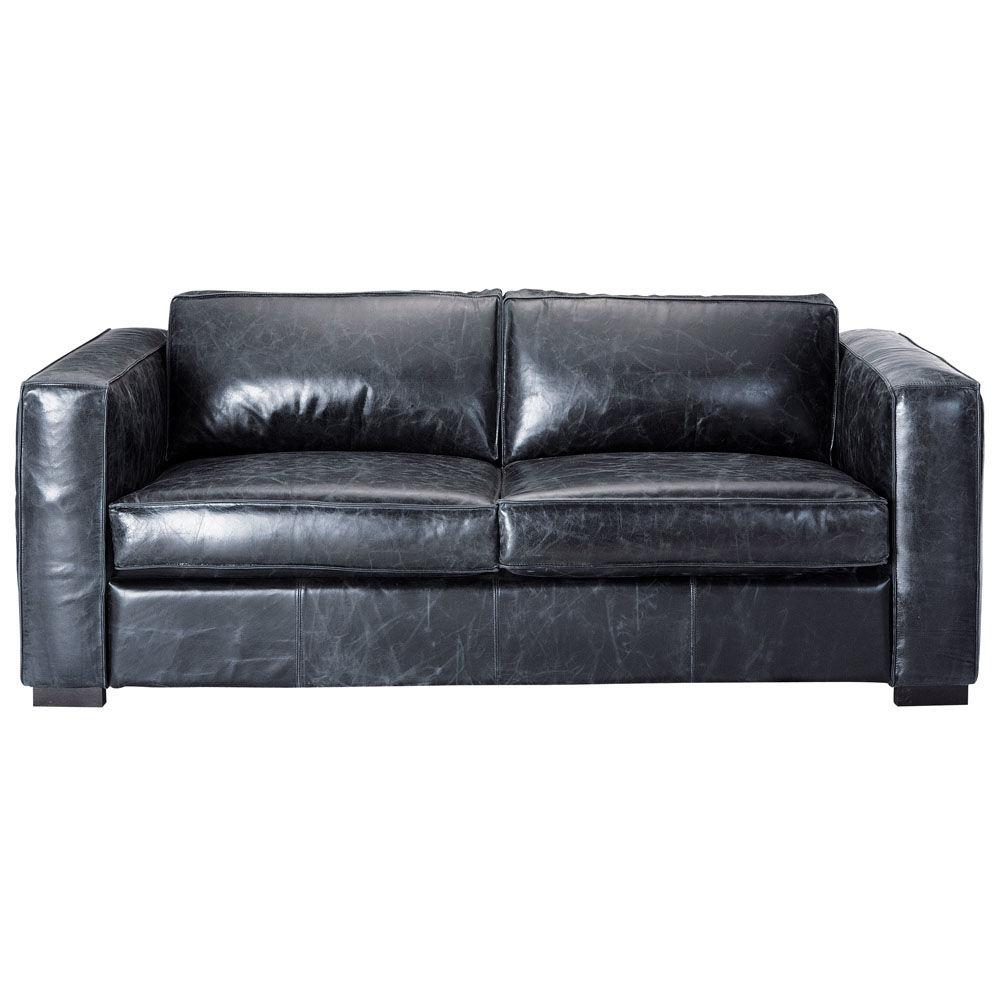Canapé convertible 3 places en cuir noir berlin maisons du monde
