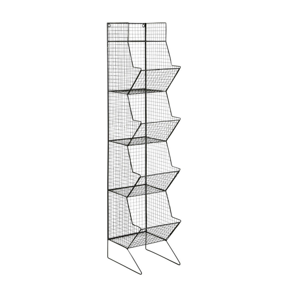 Colonne indus en m tal noire h 130 cm basket maisons du monde - Colonne metallique rangement ...