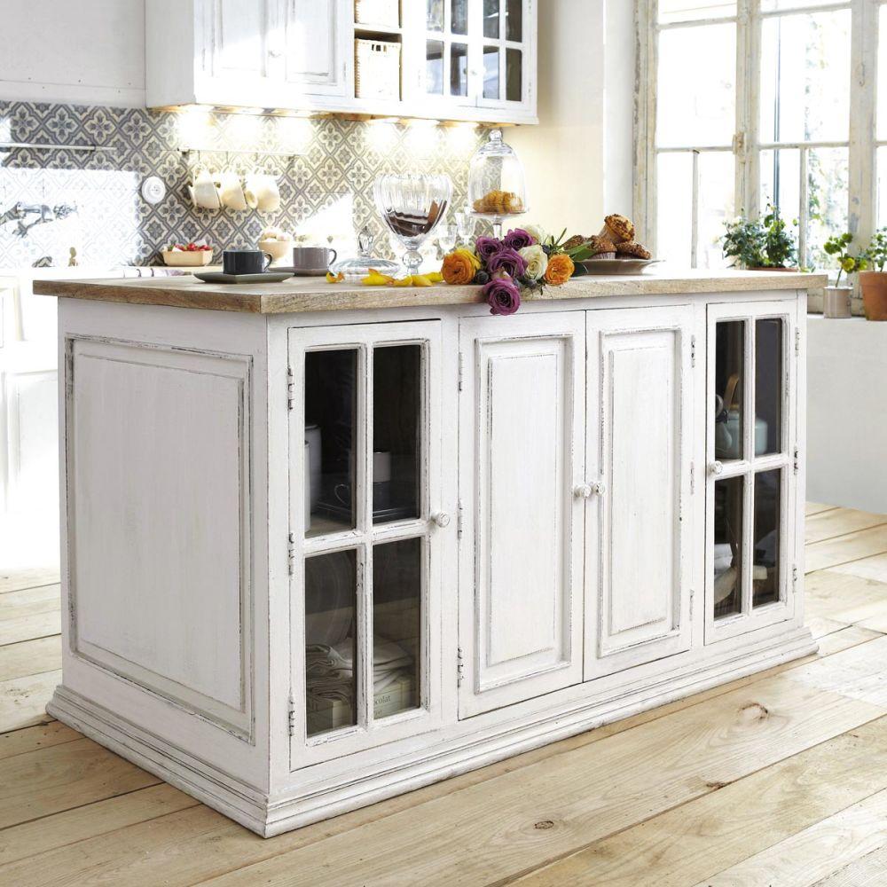 Isola centrale 160 cm eleonore eleonore maisons du monde - Table haute cuisine maison du monde ...