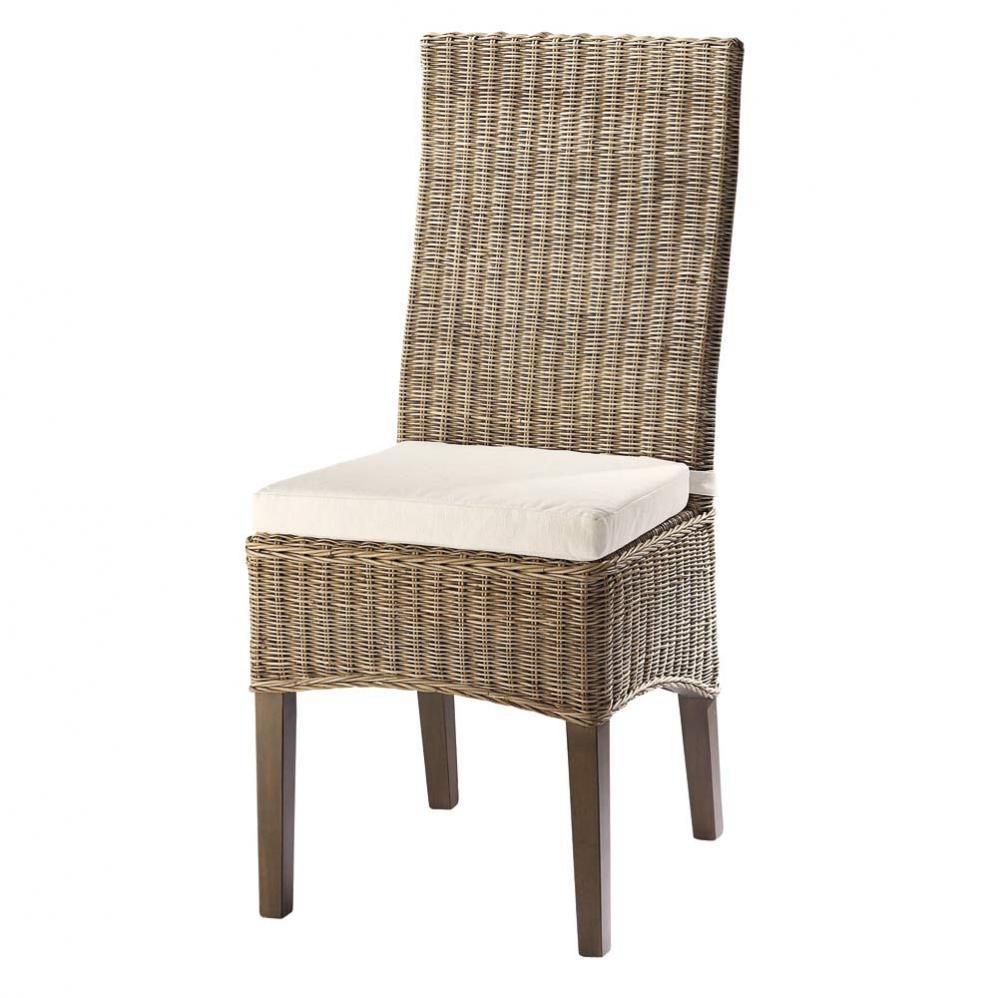 Chaise en rotin et mahogany massif Hampton   Maisons du Monde