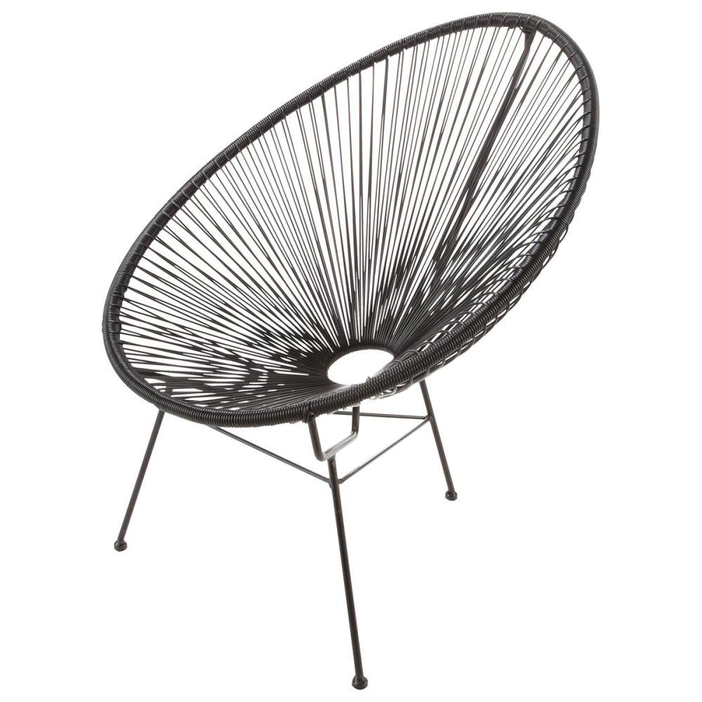 fauteuil de jardin rond noir copacabana | maisons du monde - Chaise Corde Tressee