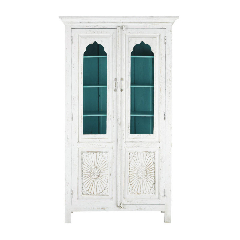 vaisselier en manguier blanc l 115 cm salvador maisons. Black Bedroom Furniture Sets. Home Design Ideas