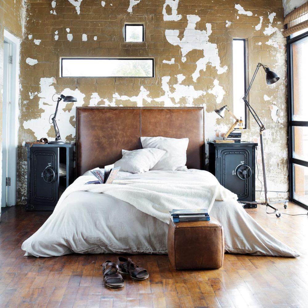 Tête de lit en cuir marron effet vieilli L 142 cm Andrew