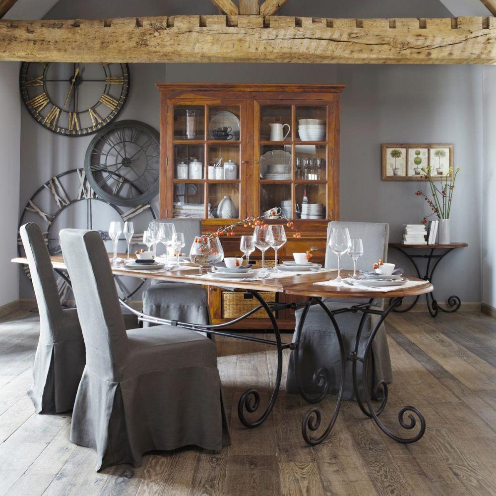 Table ronde de salle manger en bois de sheesham massif - Table ronde maison du monde ...