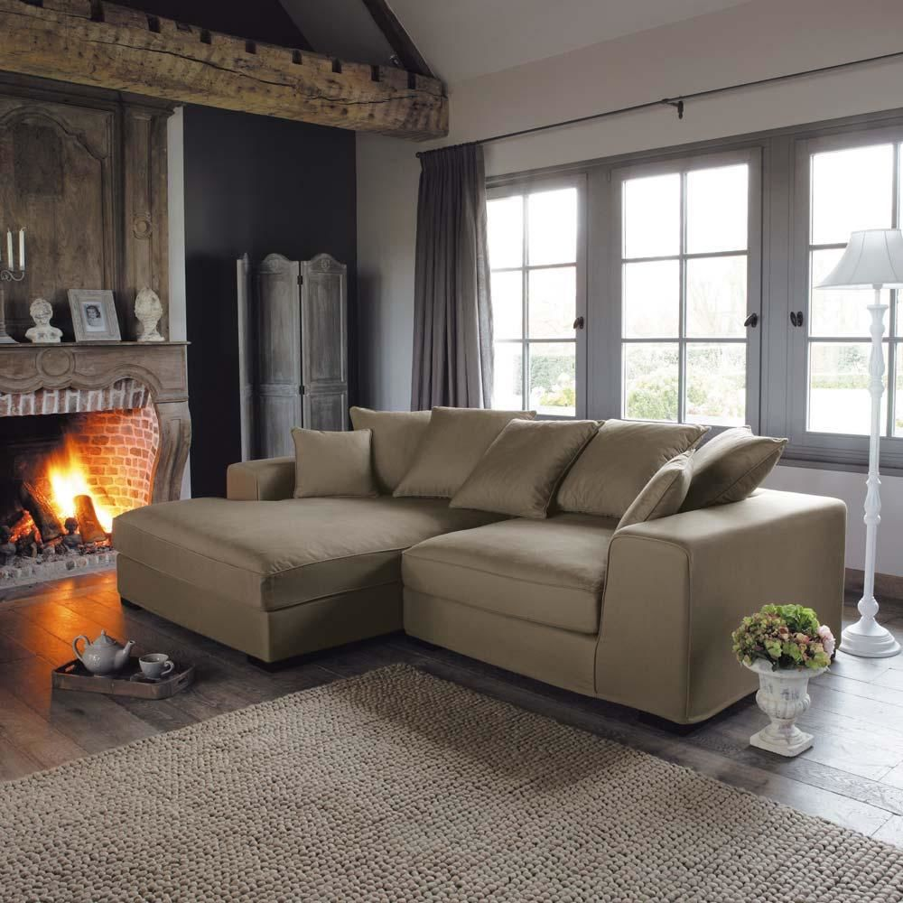 4 seat corner sofa in taupe bruges bruges maisons du monde for Maison de monde uk