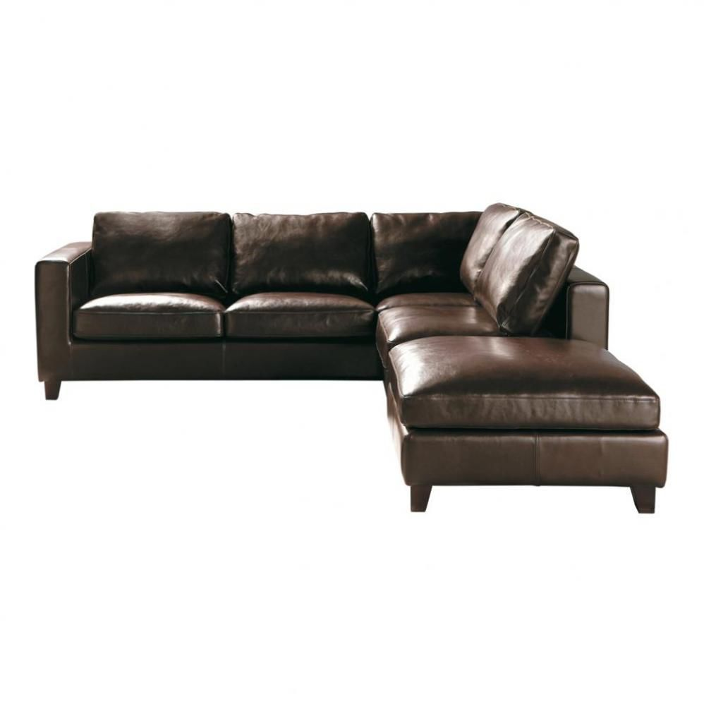 Canap d 39 angle convertible 5 places en cuir marron kennedy - Canape d angle 5 places cuir ...