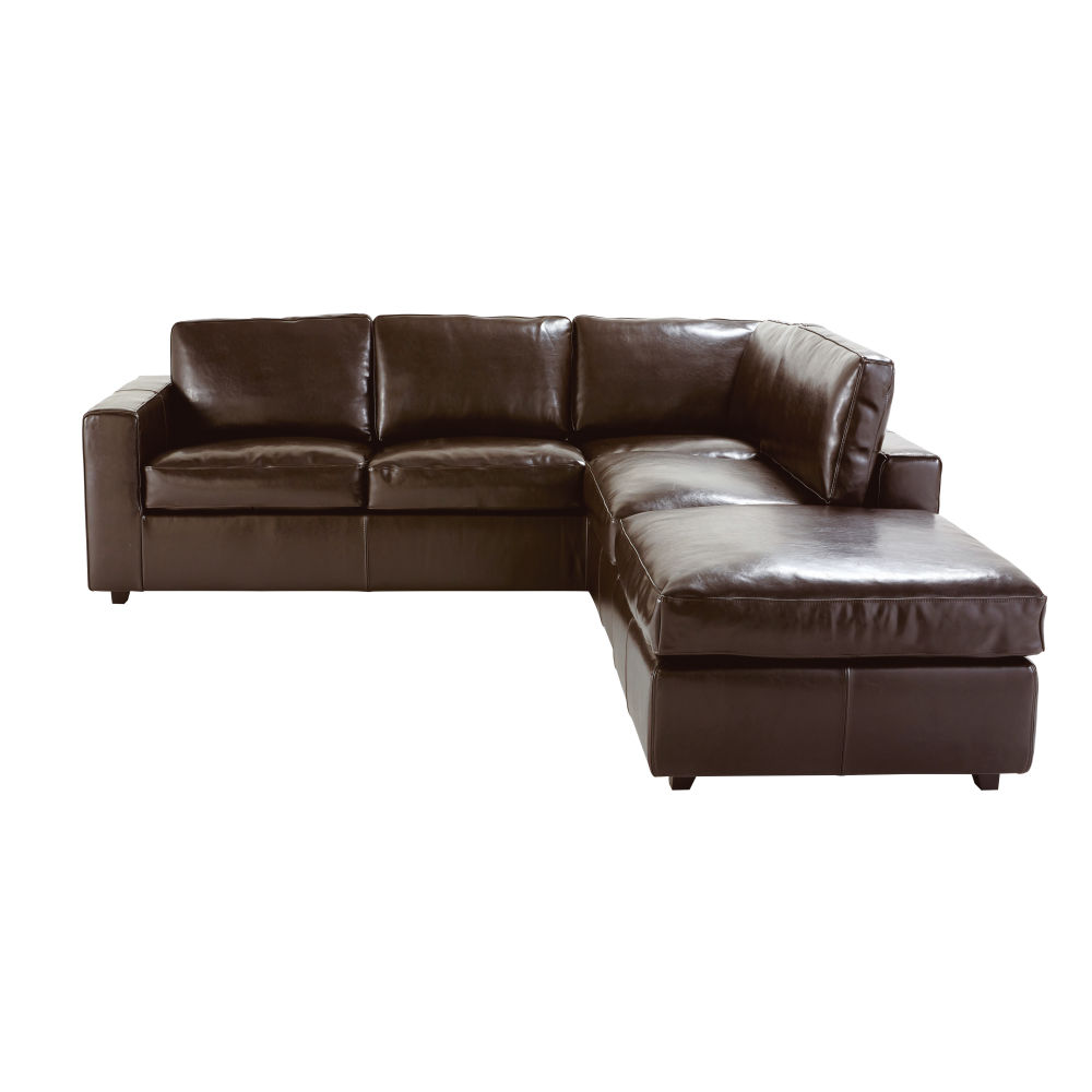 5 seater split leather corner sofa bed in brown Kennedy