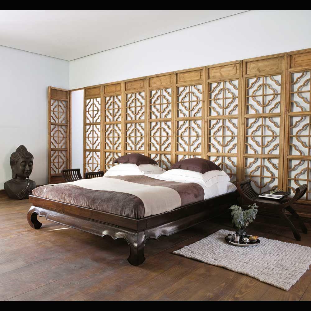 Lit 160 x 200 cm en teck massif opium maisons du monde - Lit bois exotique massif ...