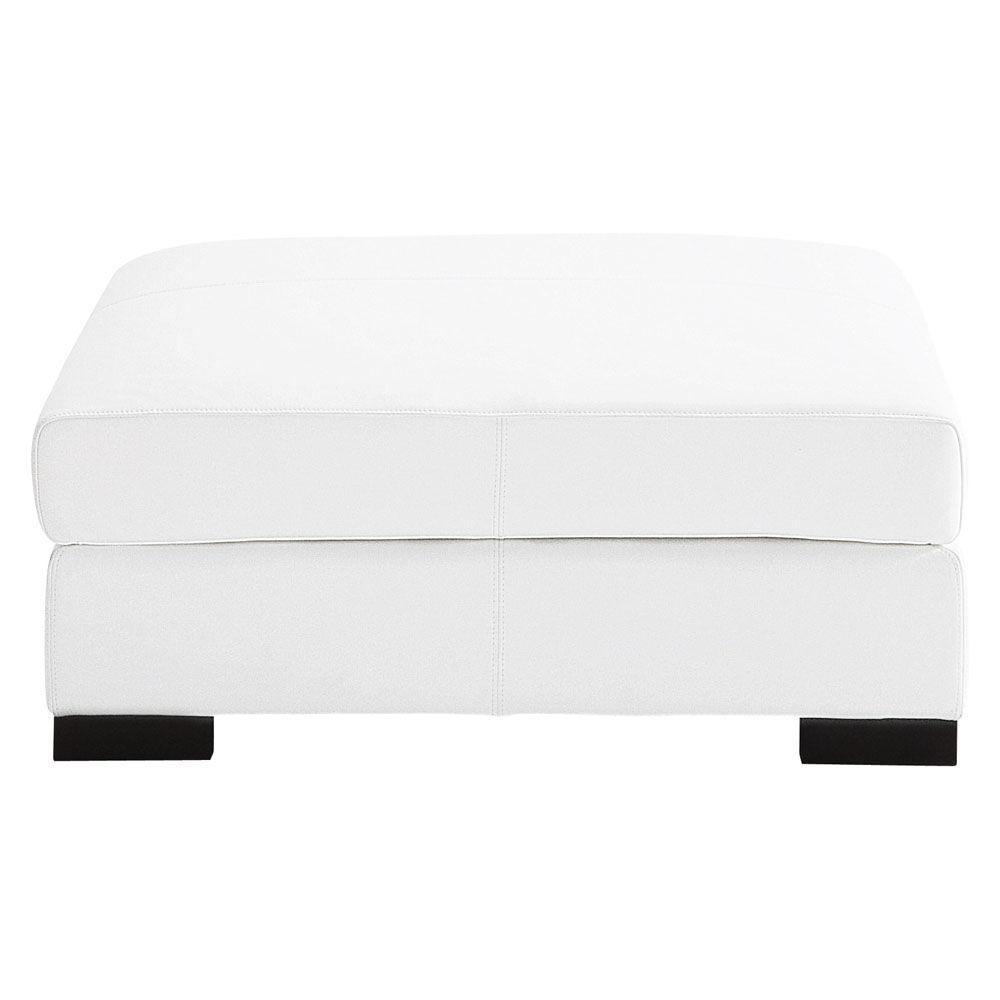 Pouf de canap modulable en cuir blanc terence maisons du monde - Chauffeuse cuir blanc ...