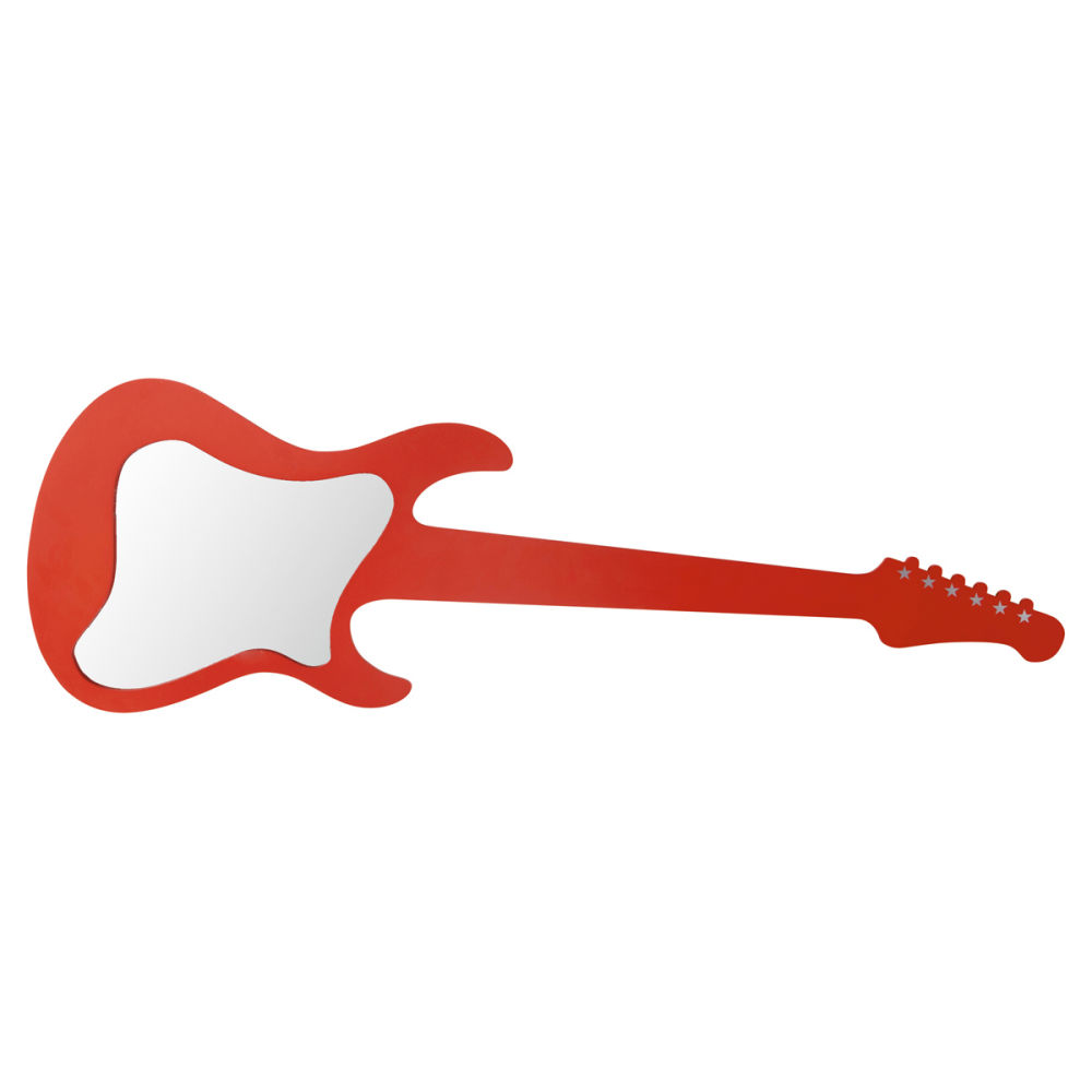 Miroir guitare rouge rock maisons du monde for Decoration murale guitare