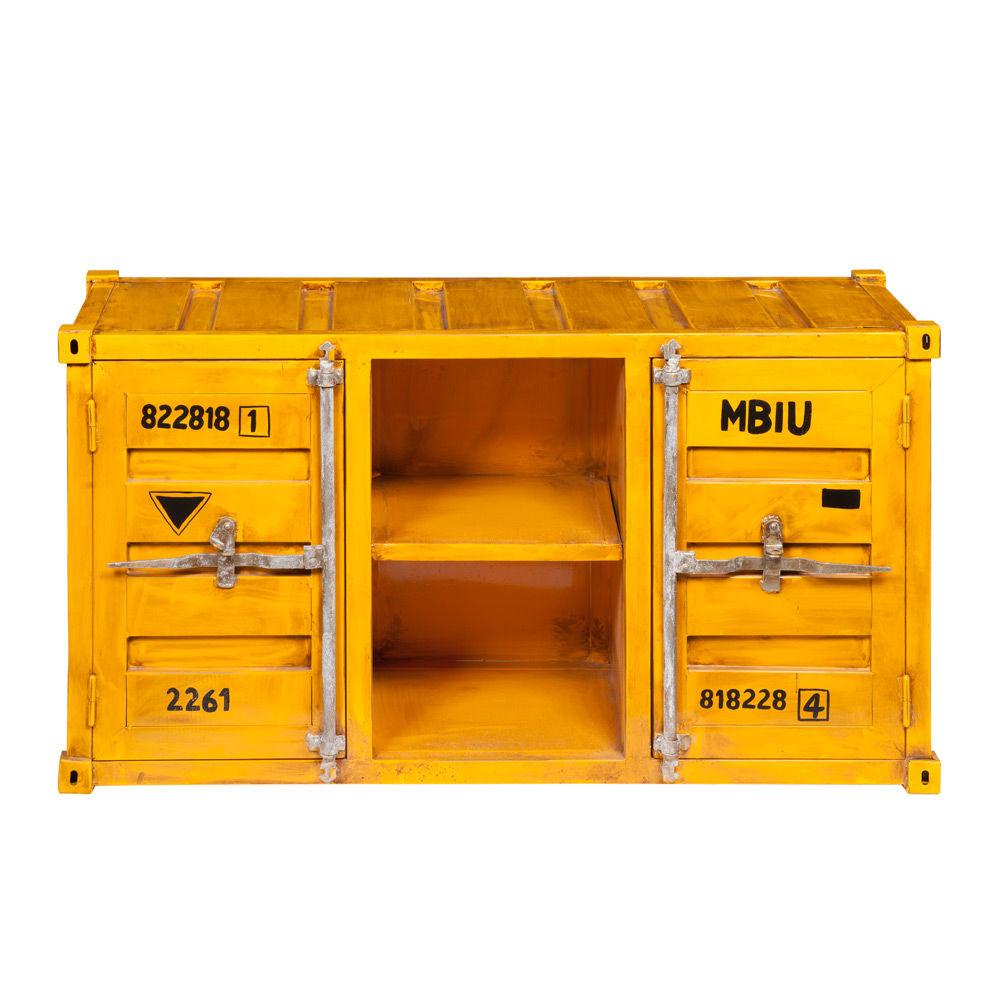 meuble tv container en m tal jaune l 129 cm carlingue