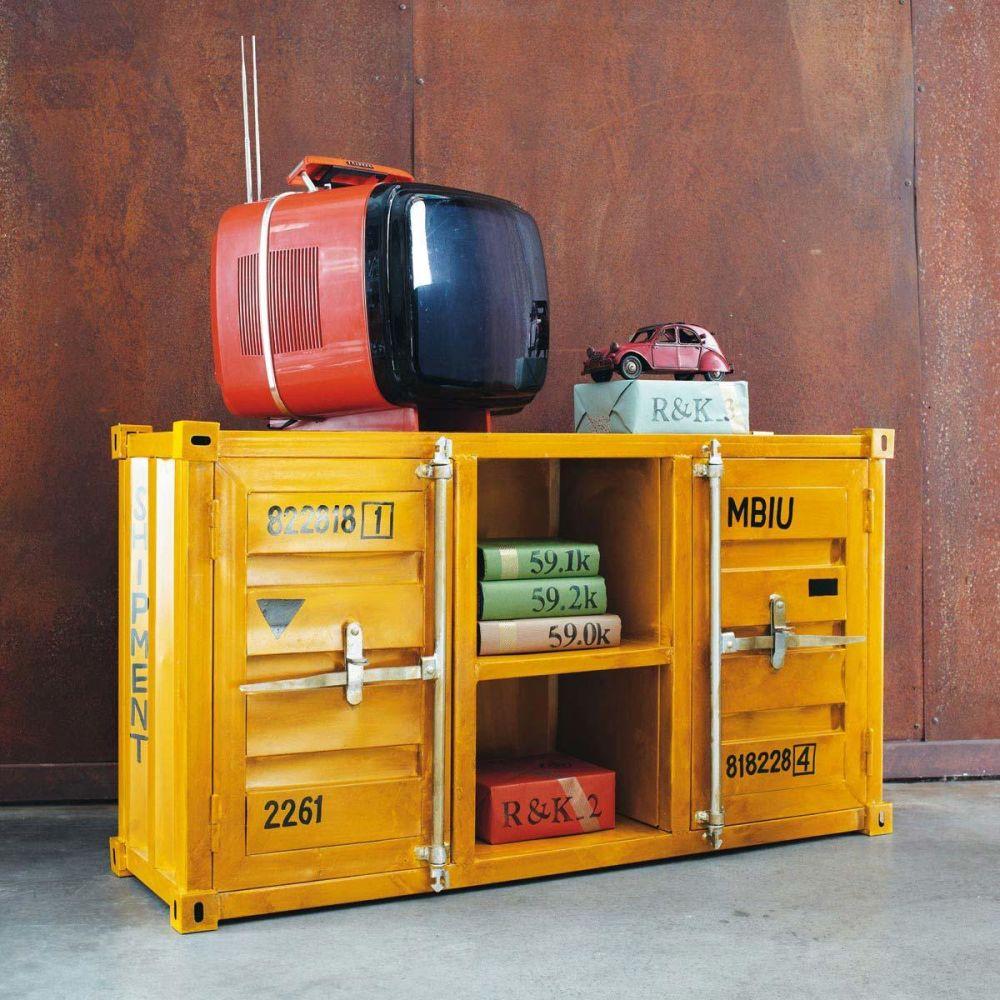 Meuble TV container en métal jaune L 129 cm Carlingue  Maisons du Monde -> Meuble Carlingue