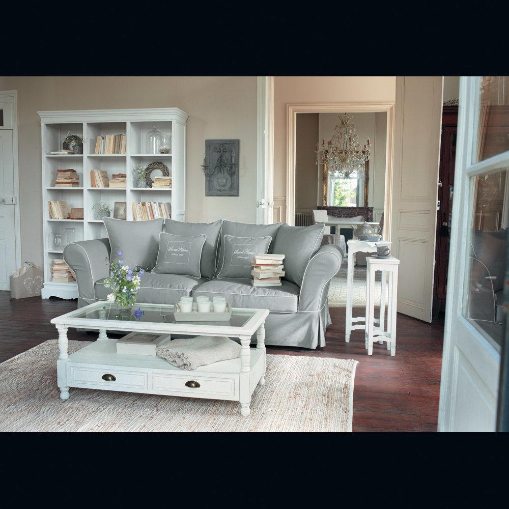 Biblioth que en bois de paulownia blanche l 160 cm jos phine maisons du monde - Meuble tv josephine maison du monde ...