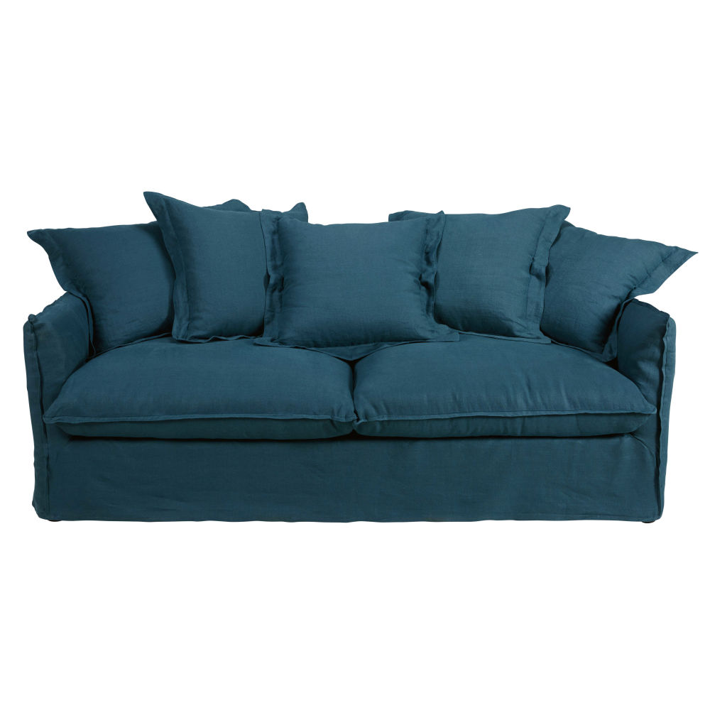 Teal blue 3 4 seater washed linen sofa Barcelone