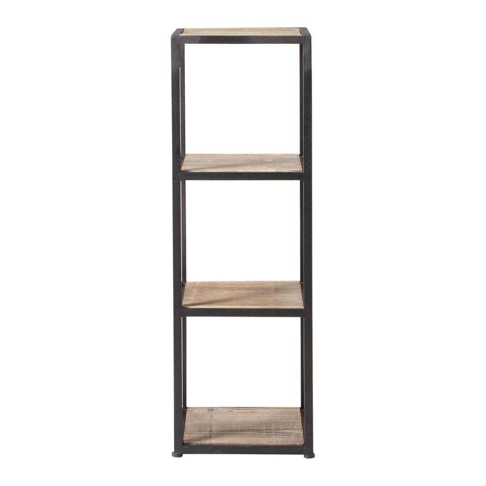 Solid Fir and Metal Industrial Shelf Tower Unit in Whitewash ...