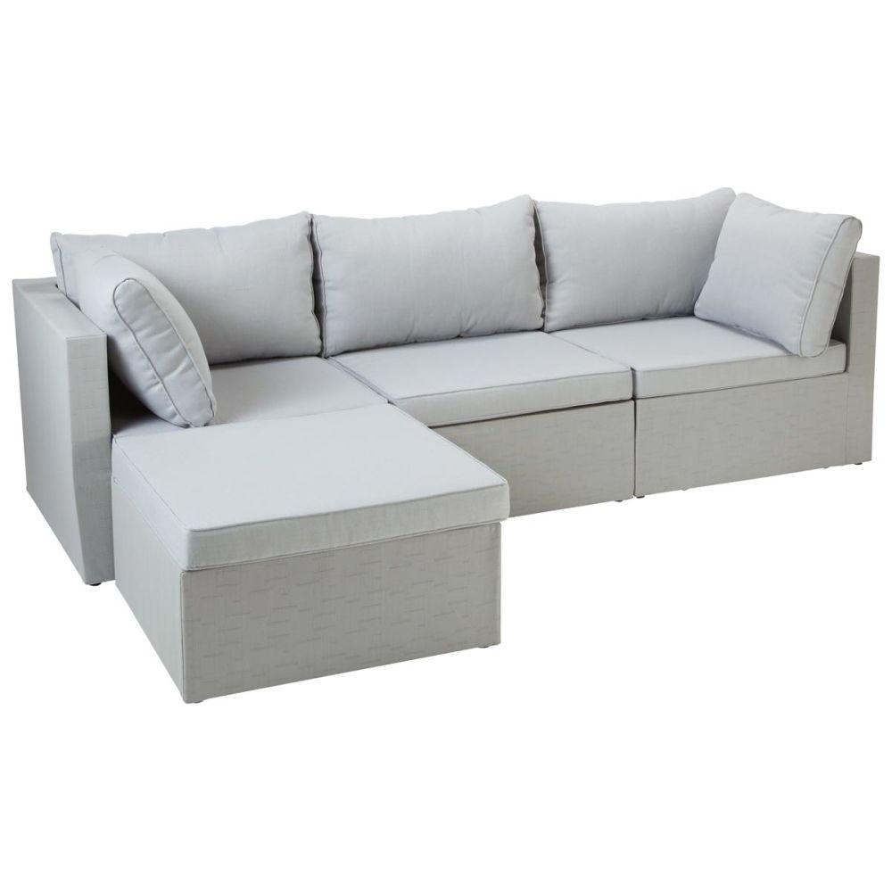 Chauffeuse de jardin en tissu gris clair ibiza maisons - Matelas pour canape exterieur ...
