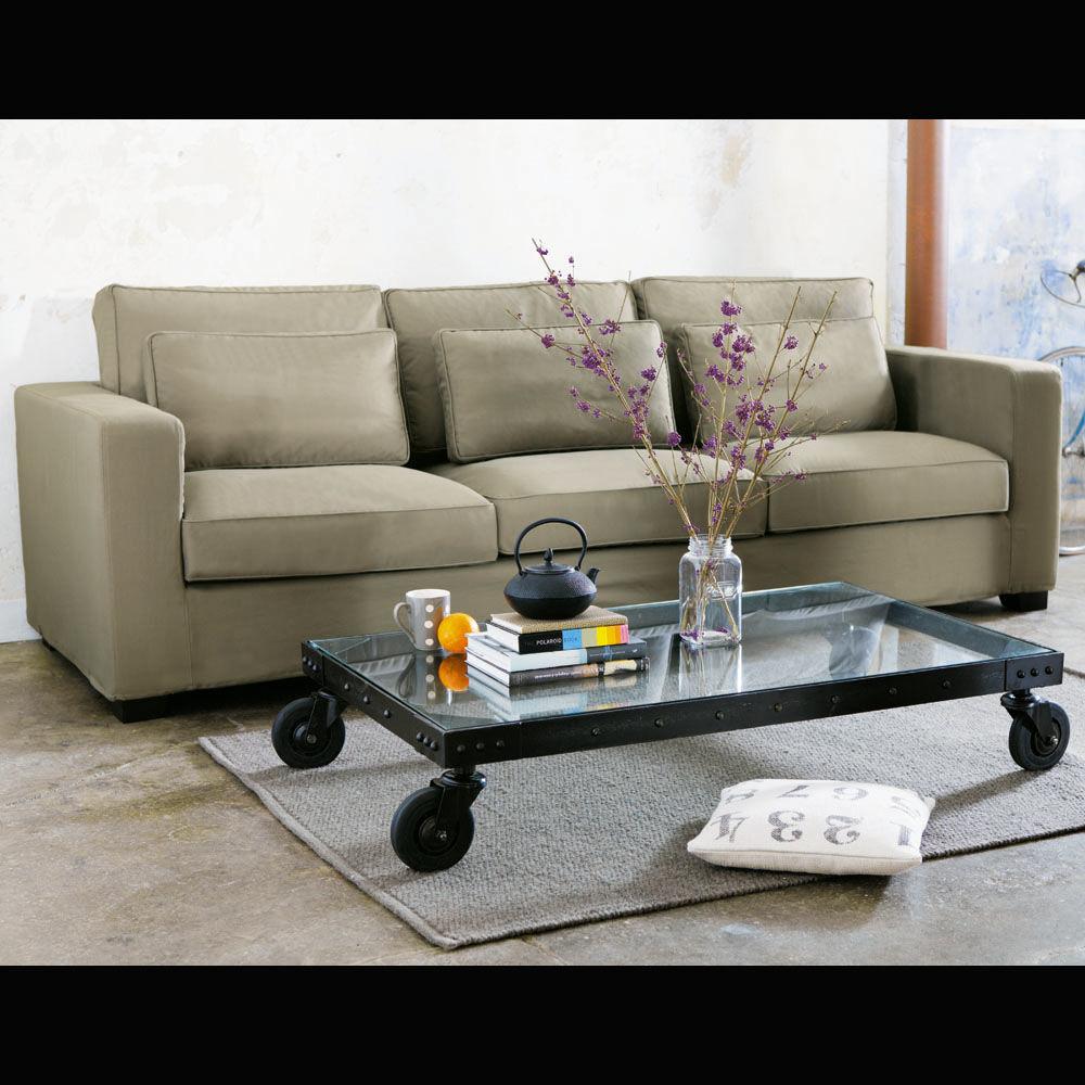 table basse roulettes indus en verre et m tal l 130 cm. Black Bedroom Furniture Sets. Home Design Ideas