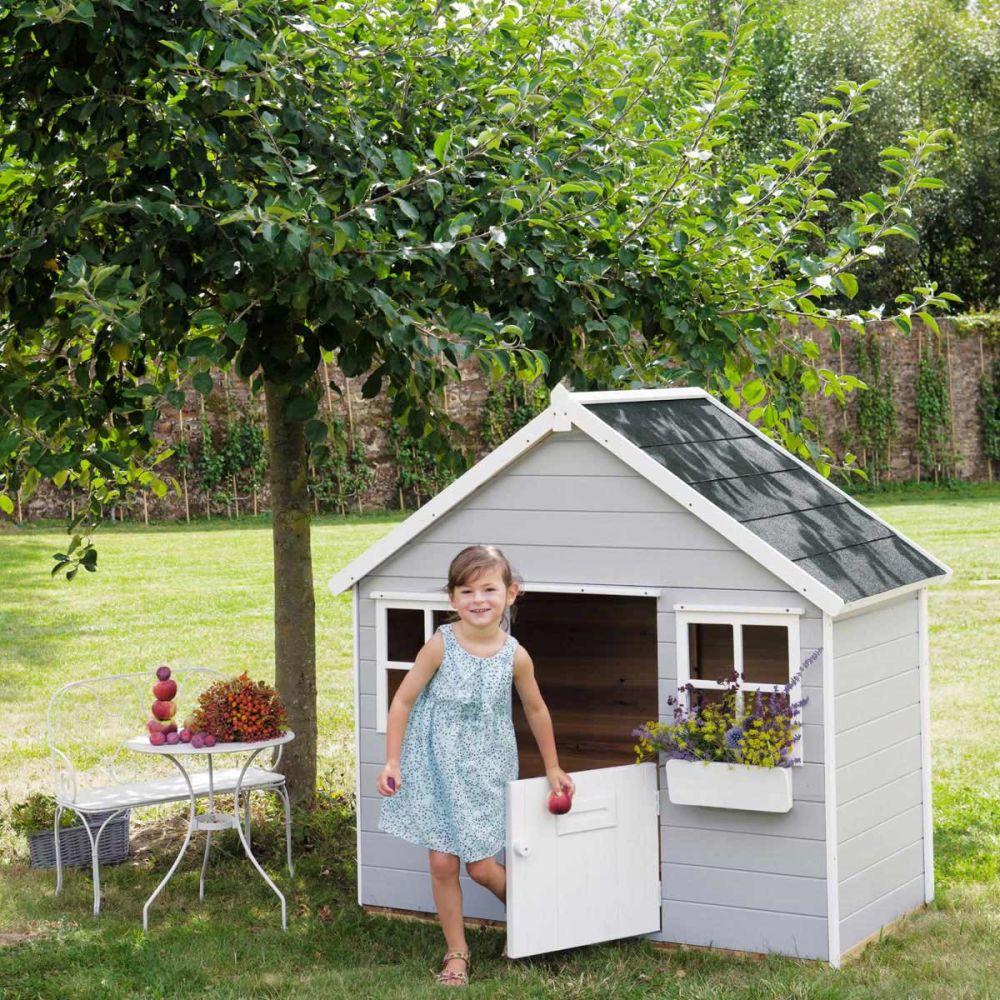 Cabane de jardin enfant grise lola maisons du monde for Cabane de jardin