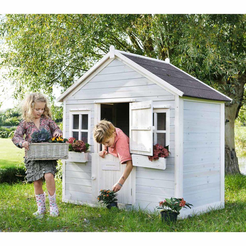 Cabane de jardin enfant grise lola maisons du monde for Solde cabane de jardin