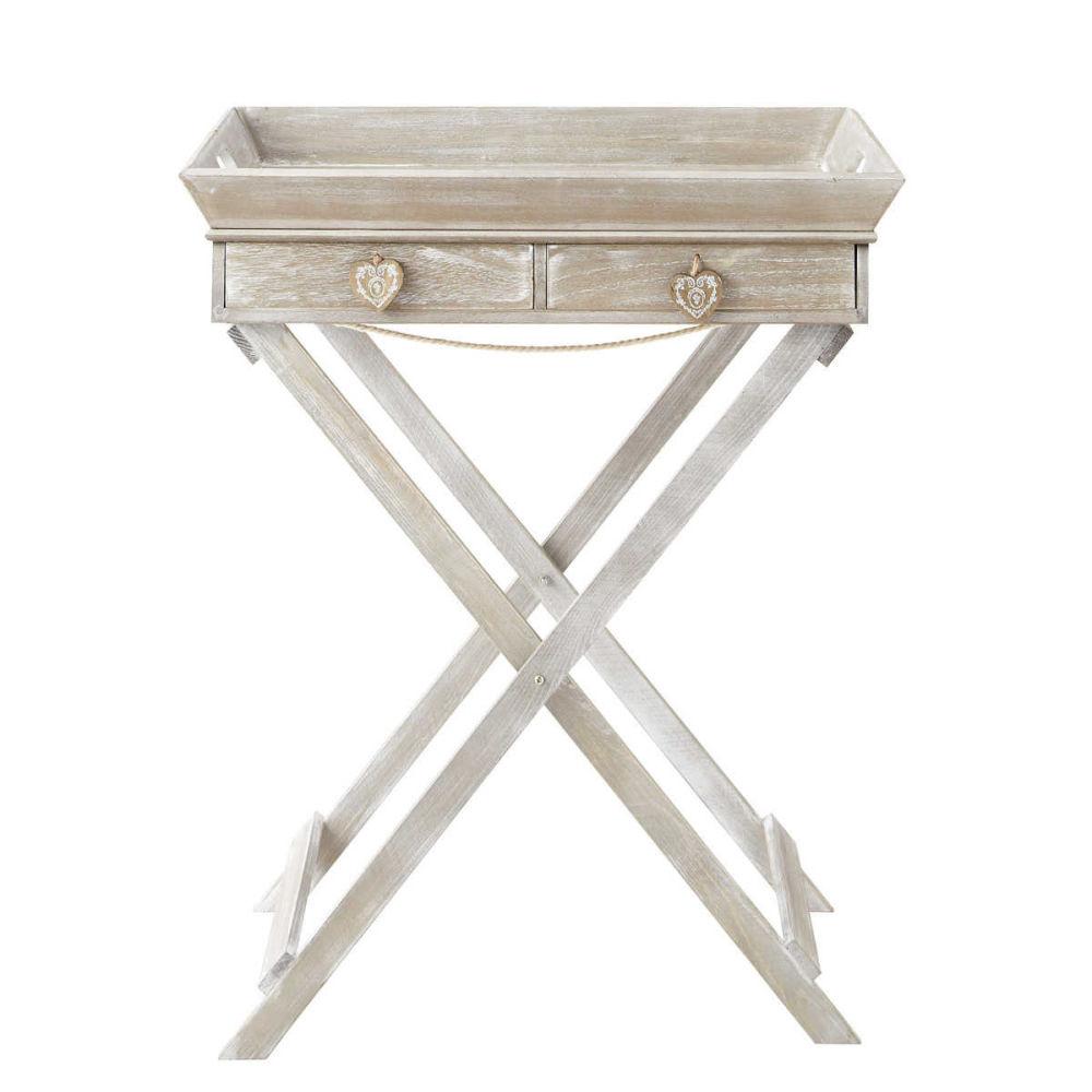 plateau sur pied en bois de paulownia blanchi camille