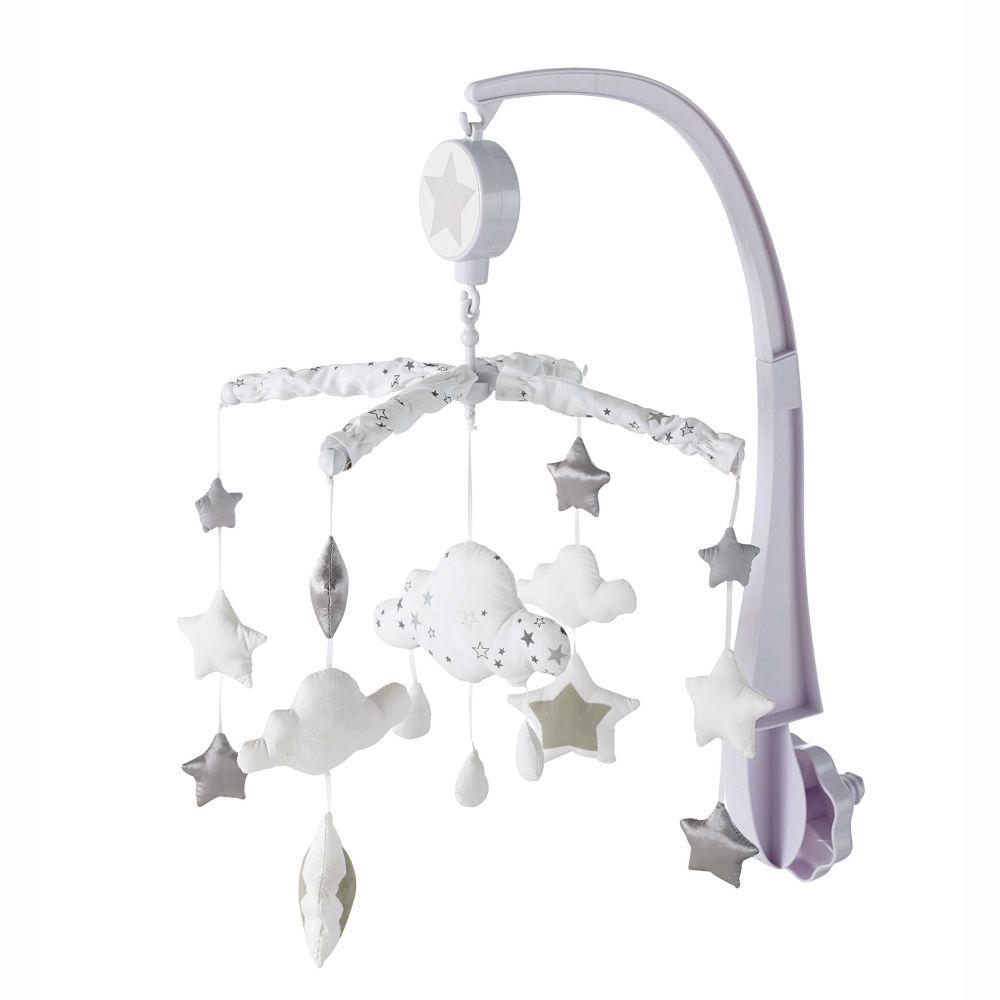 Tour de lit bébé en coton gris blanc 45 x 180 cm SONGE