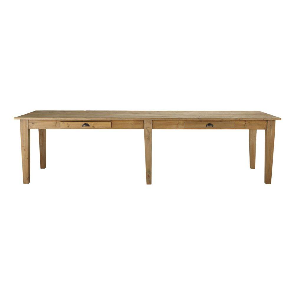 Table de salle manger en bois l 300 cm pagnol maisons - Table rectangulaire bois ...