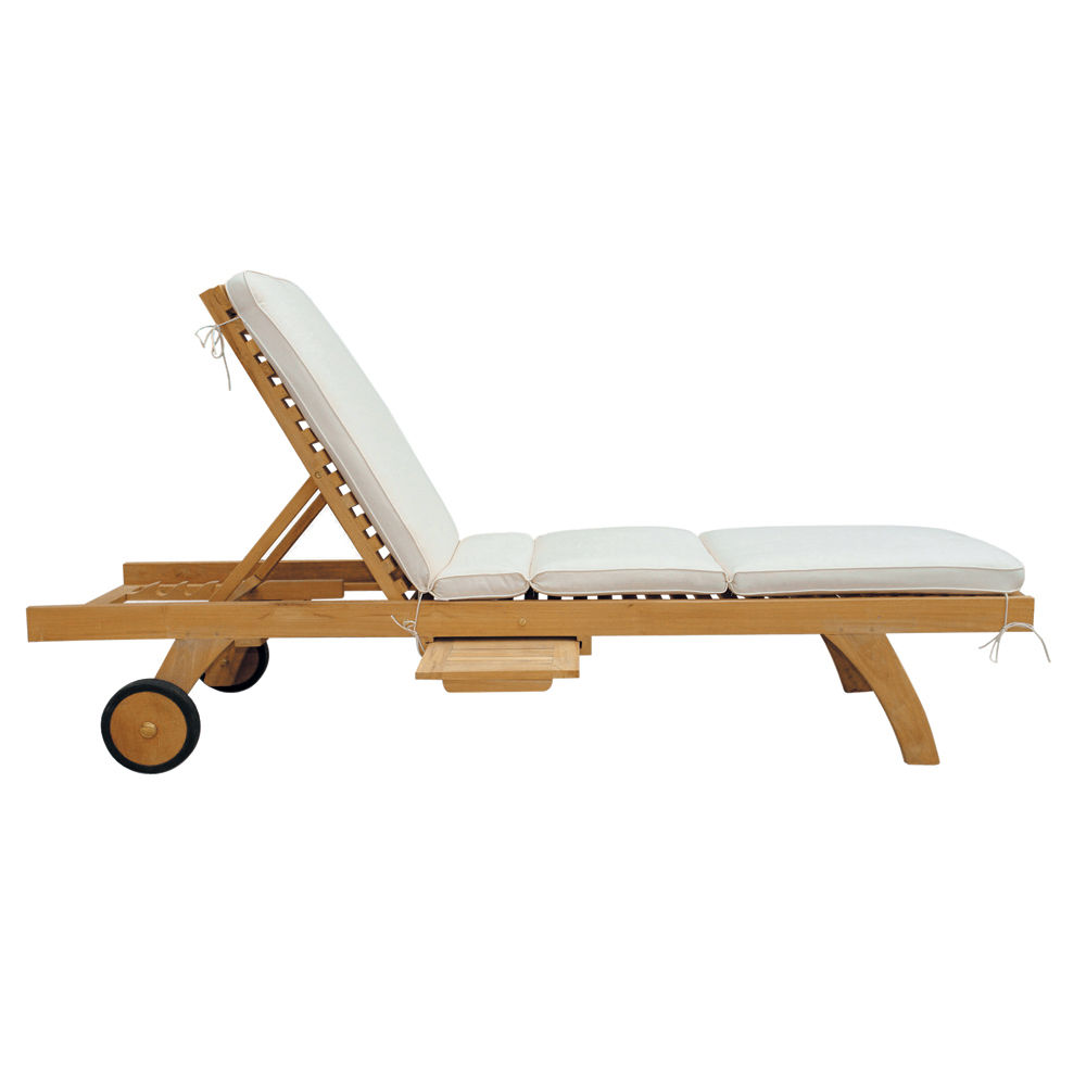 Bain de soleil roulettes en teck massif l 207 cm ol ron - Plan de chaise longue en bois ...
