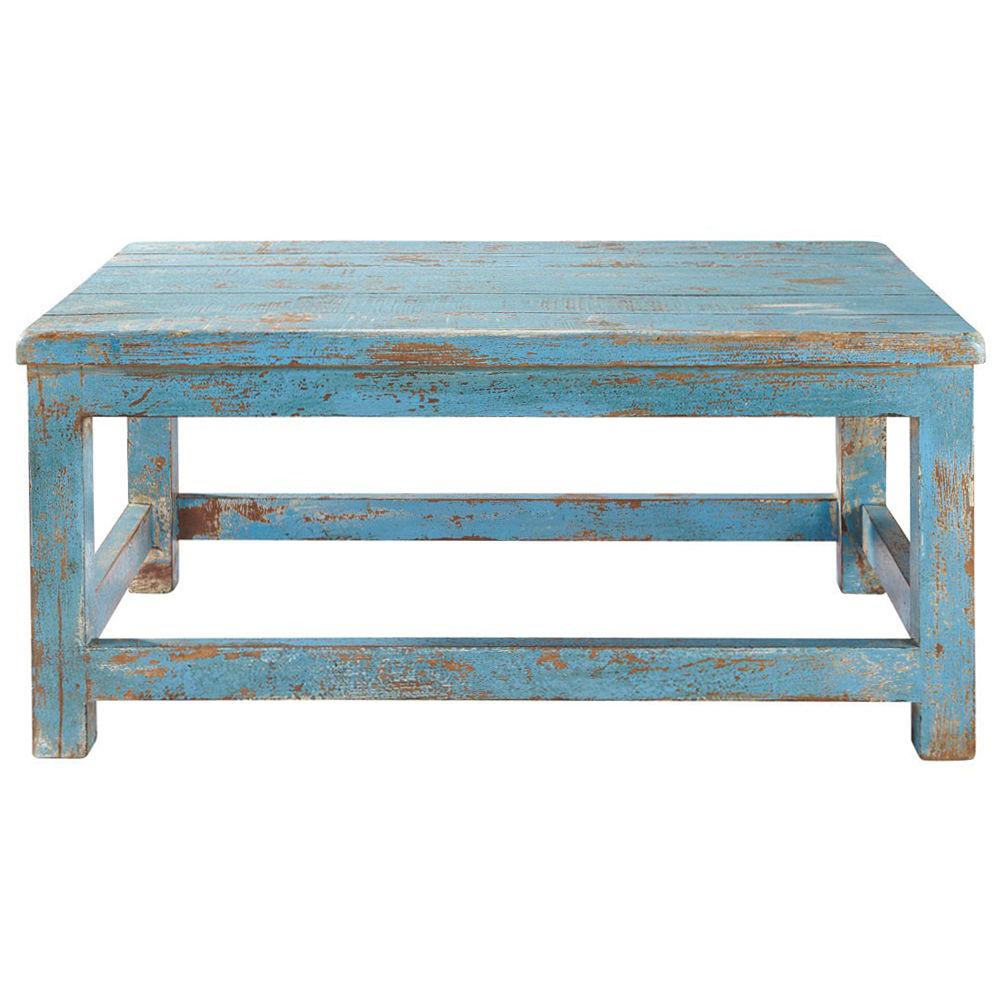 Table basse bleue avignon maisons du monde for Table basse scandinave bleu
