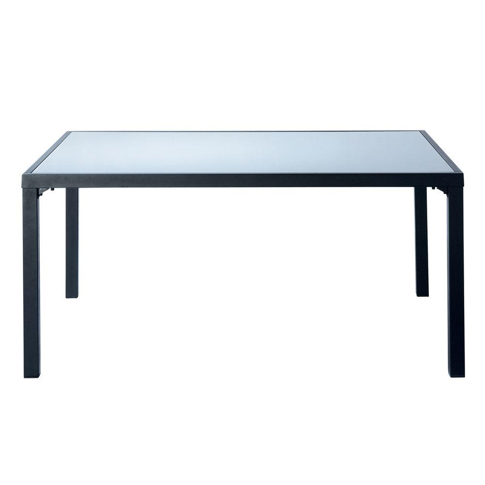 Table de jardin en verre tremp et aluminium grise l 160 - Table de jardin haute ...