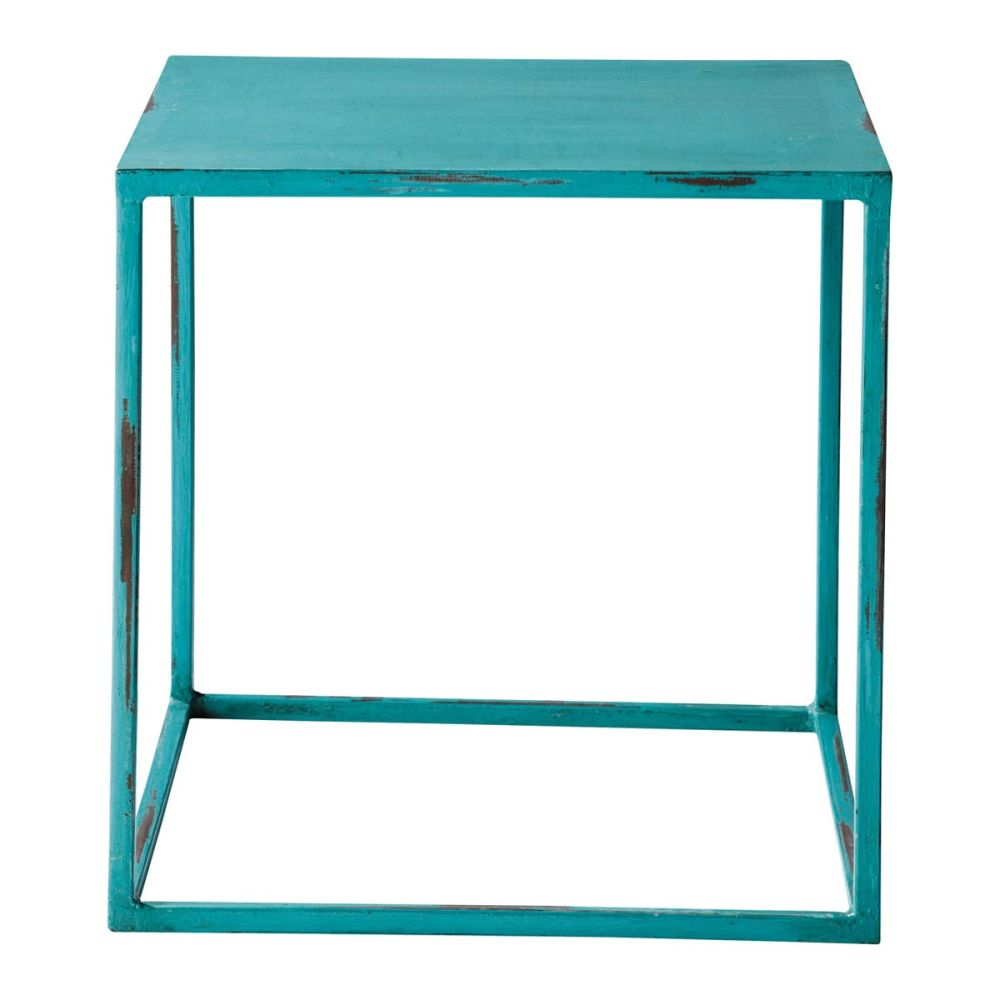 Table basse indus bleue edison maisons du monde - Table basse bleu ...