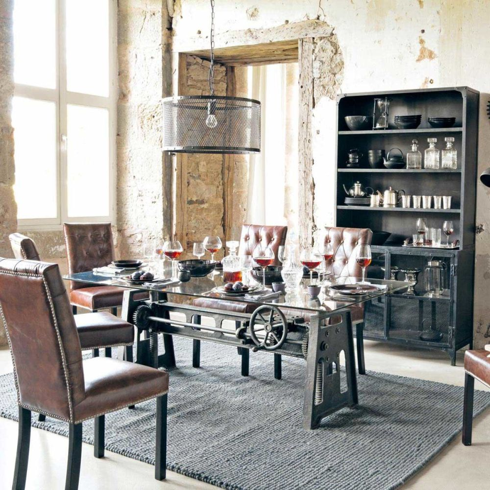 Bahut indus en m tal noir l 110 cm gaston maisons du monde - Tafel salle a manger loft ...