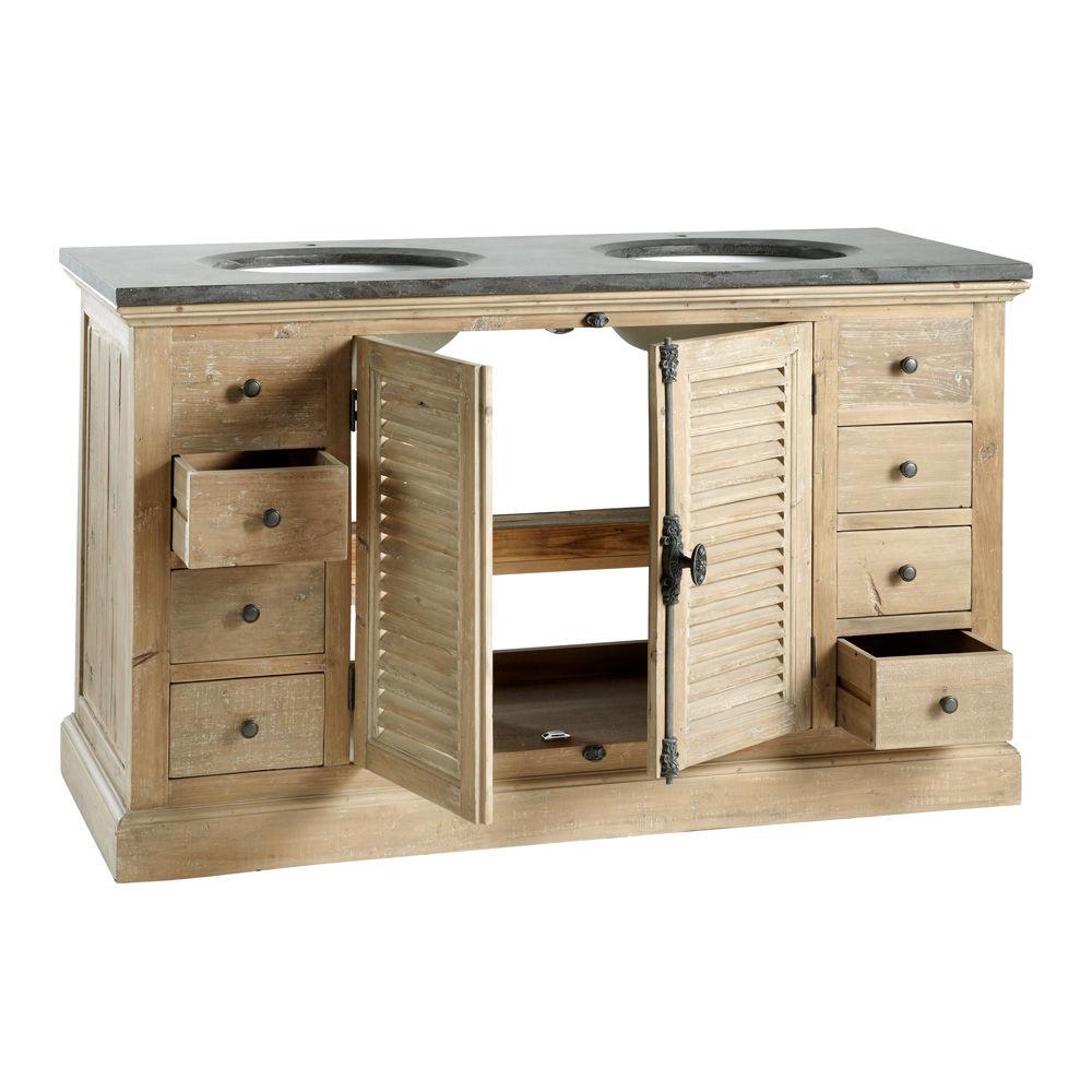 Meuble double vasque salle de bain persiennes maisons du for Creer son meuble de salle de bain