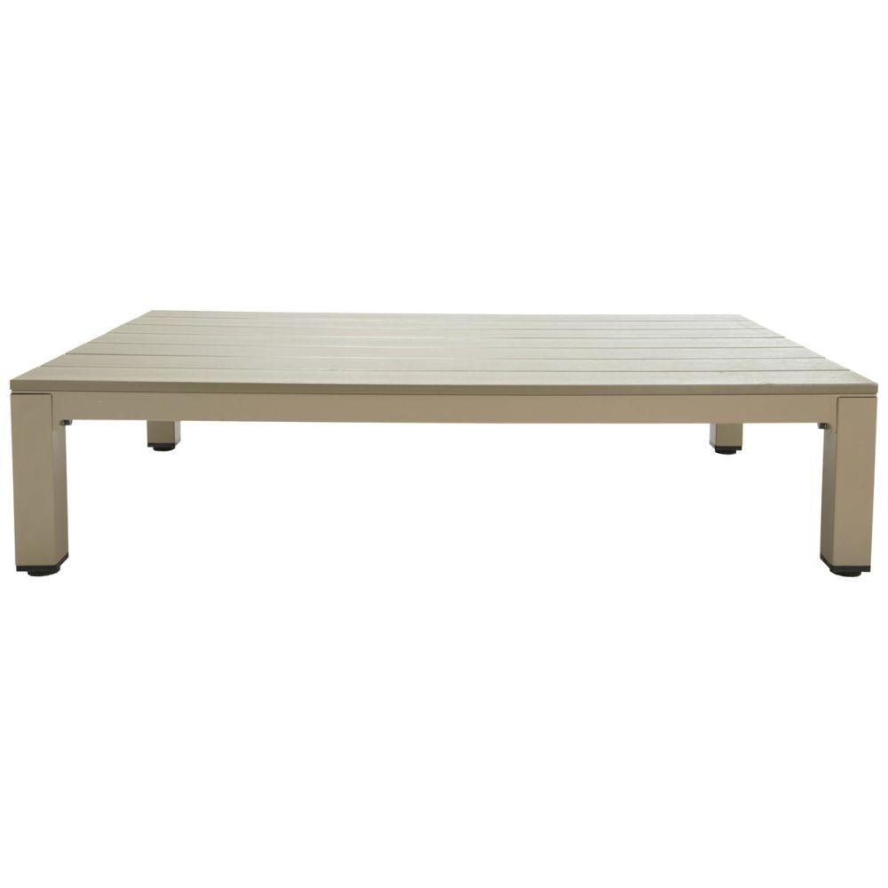 Table basse de jardin en composite imitation bois et aluminium taupe l 130 cm - Table basse de jardin ...