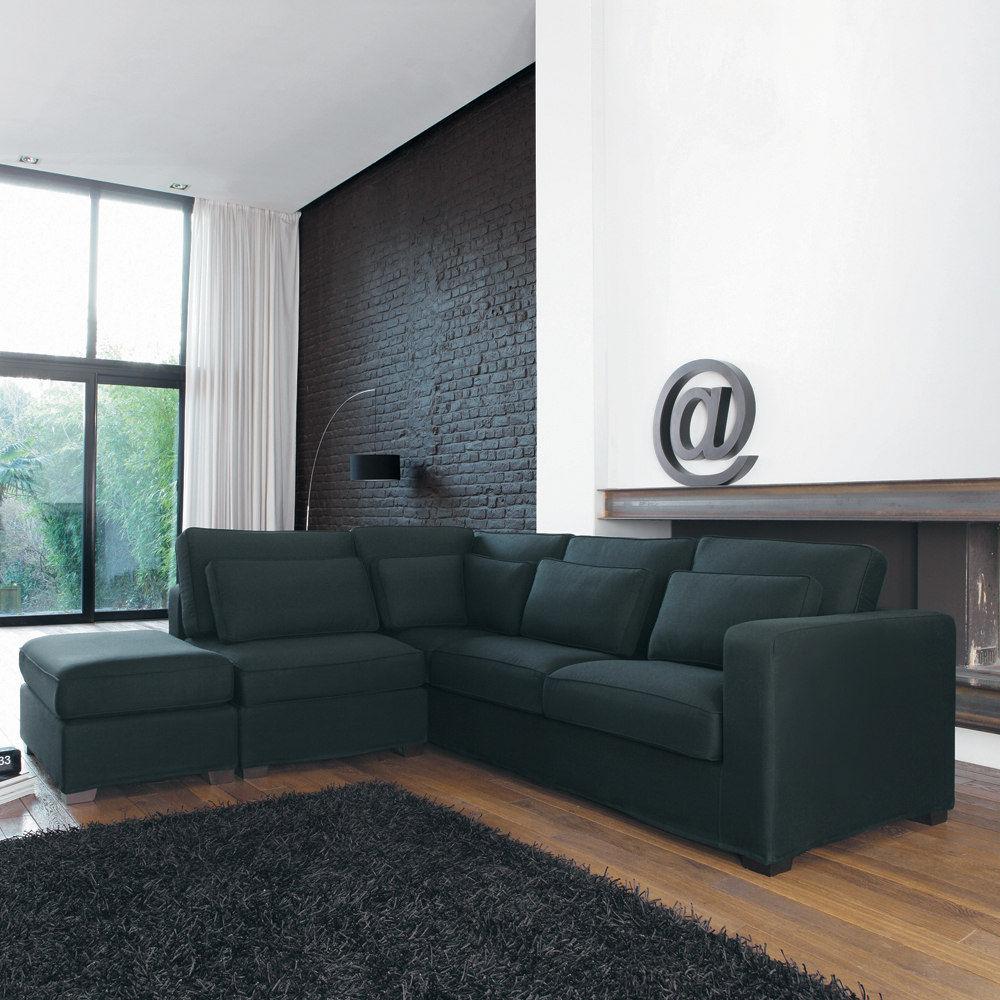 Canap d 39 angle 5 places en coton gris ardoise milano maisons du monde - Canape d hoek converteerbare maison du monde ...
