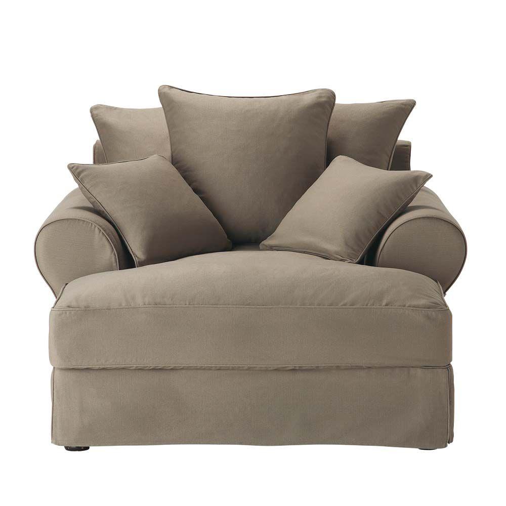 m ridienne en coton taupe bastide maisons du monde. Black Bedroom Furniture Sets. Home Design Ideas