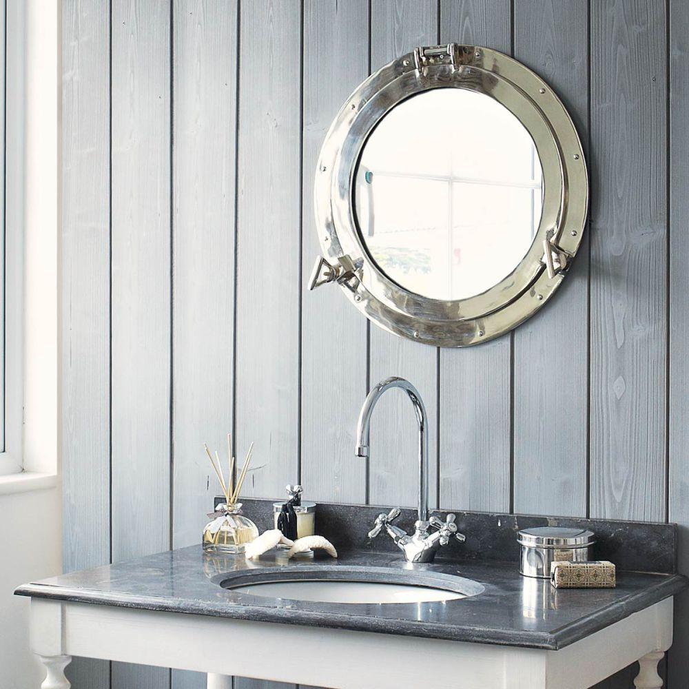 specchio in metallo a forma di obl h 51 cm navy maisons du monde