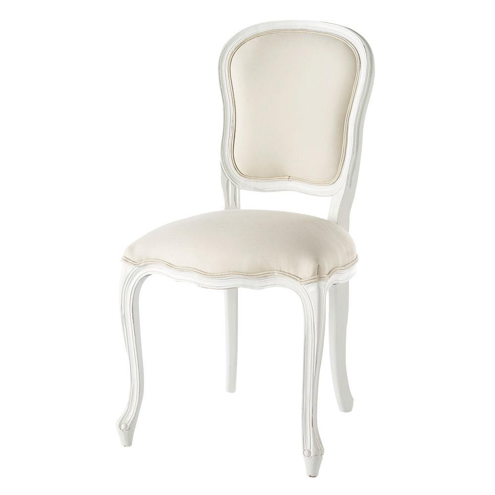 Chaise en coton et bois blanche versailles maisons du monde - Chaise tulipe maison du monde ...