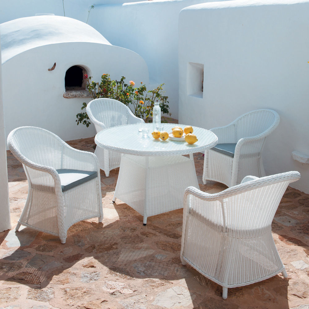 Table De Jardin En Verre Tremp Et R Sine Tress E Blanche