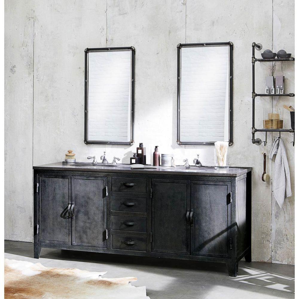 Mobile grigio scuro stile industriale in metallo e marmo - Meubles maison du monde occasion ...
