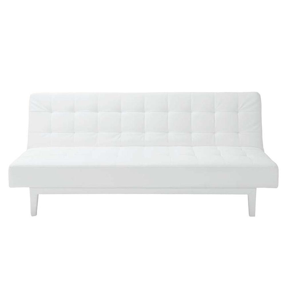 canap clic clac capitonn 3 places imitation cuir blanc studio maisons du monde. Black Bedroom Furniture Sets. Home Design Ideas