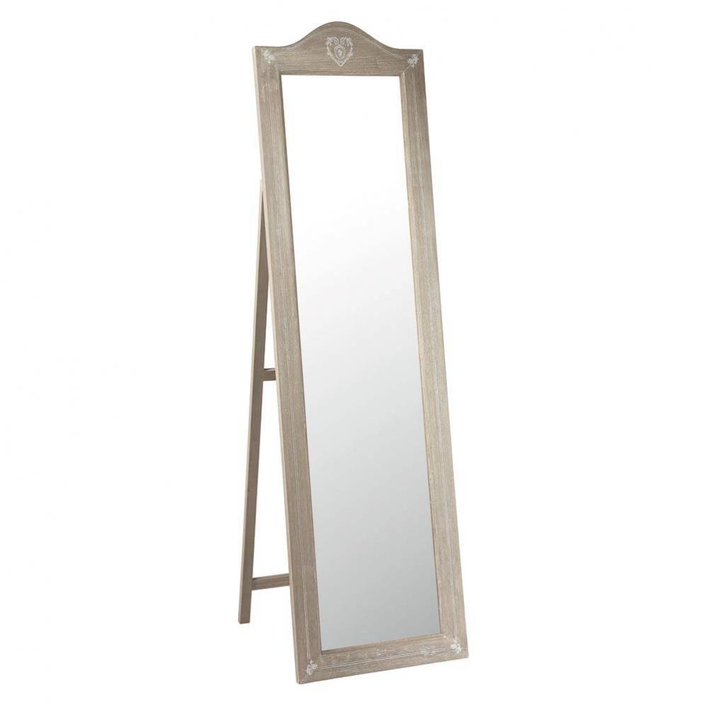Miroir psych en bois de paulownia h 170 cm camille - Miroir psyche avec rangement ...