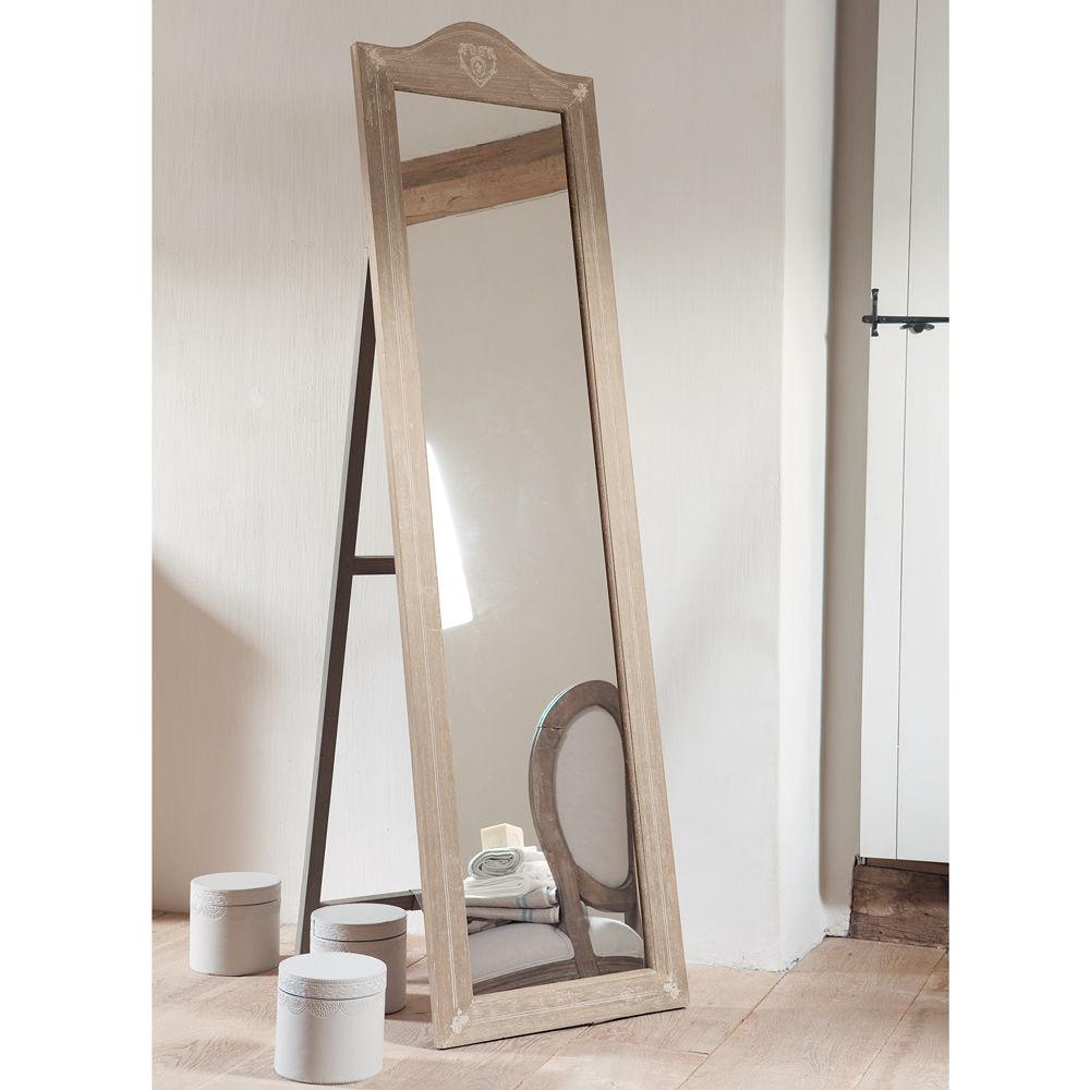 miroir psych en bois de paulownia h 170 cm camille