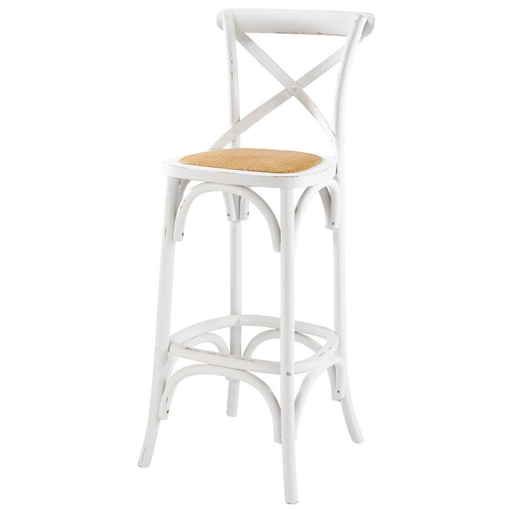 chaise de bar en rotin et bois blanc tradition | maisons du monde - Chaise De Bar Blanche